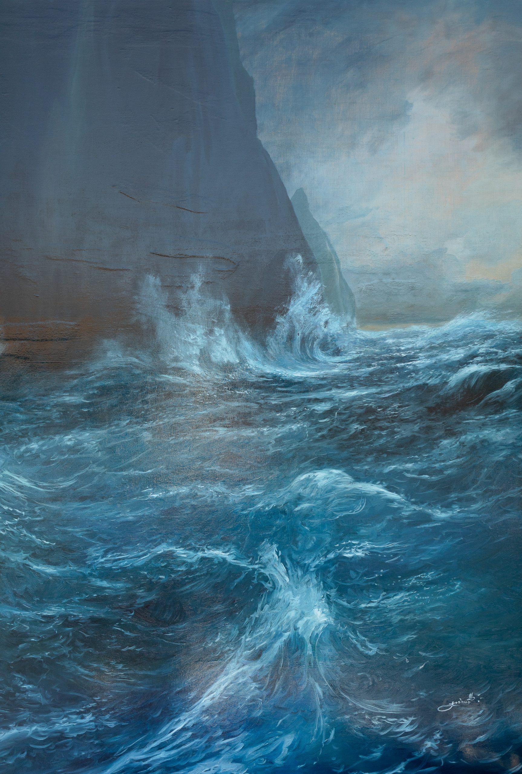Huge custom Napali Coast oil painting
